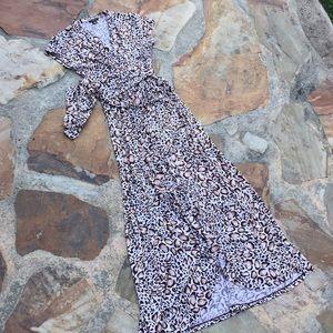 Iman maxi leaped animal print dress S